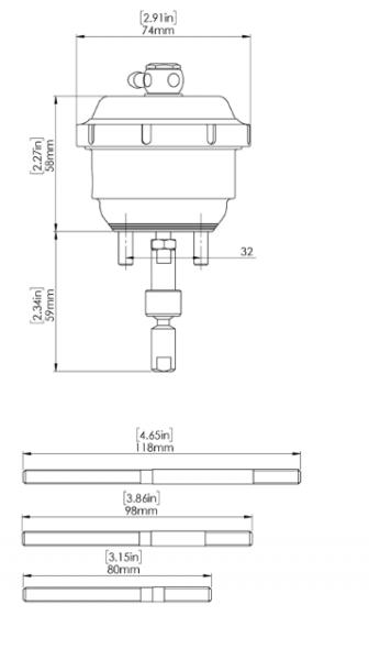 GenV IWG (Twin Port) Wastegate Aktuator 14psi passend für BorgWarner EFR