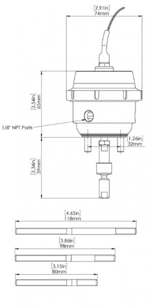 GenV IWG (Twin Port) Wastegate Aktuator mit Sensor 14psi passend für BorgWarner EFR